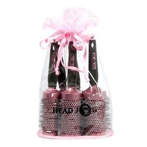 Hair Tools Head Jog Pink Round Ceramic Ionic Brushes Set Of 5 with Bag