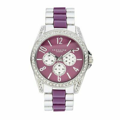 Identity Lux Two Tone Purple/Silver Dial Bracelet Analogue Watch