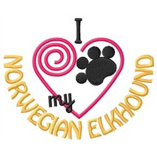 I Heart My Norwegian Elkhound Ladies Short-Sleeved T-Shirt 1324-2 Size S - XXL