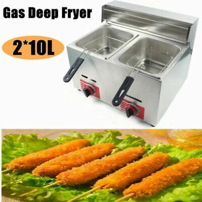 20l Stainless Commercial Countertop Gas Fryer 2 Basket Deep Fryer Propane Lpg
