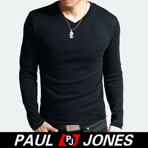 UK New Muscle Mens Causal Long Sleeve T-Shirt Slim Fit Cotton V-neck Shirts Tops