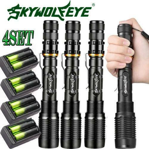 4x Tactical Police 350000LM 5Modes T6 LED Flashlights Alumin
