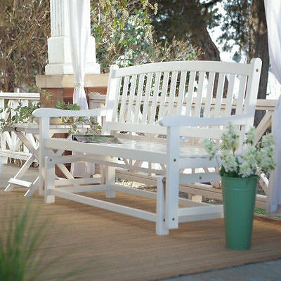 Curve Back Outdoor Wood - Outdoor Porch Rocker Glider White Curved Back Wood Loveseat Patio  4 Foot