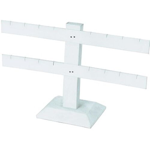 """2 Tier Double Bar White Earring Display Stand 10 1/4""""W  x 6 1/2""""H"""