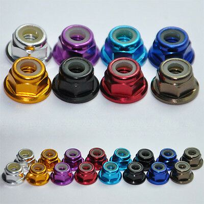 (M2 M3 M4 M5 Aluminum Flanged Nylon Lock Nut X 10 Purple Blue Red Gold Pink Green)