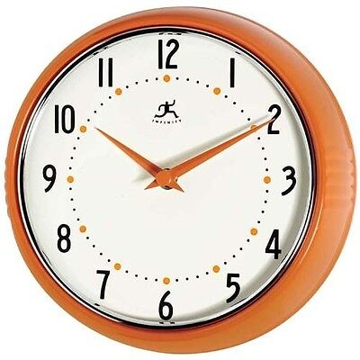 Retro Style Wall Clock Decorative Metal Orange Kitchen Living Room Decor Design