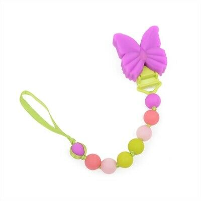 Chewbeads Baby Girl Pacifier Clip Silicone Safe Butterfly - It's not a teether!