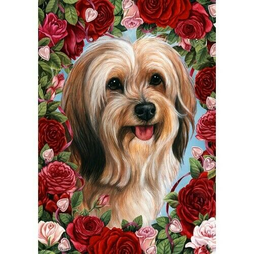 Roses House Flag - Cream Sable Tibetan Terrier 19479