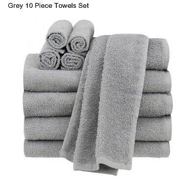 New Grey Cotton 10 Piece Bath Towel Set Washcloth Bathing Bathroom Hand Towels