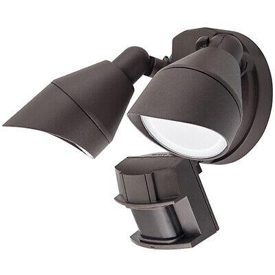LED Outdoor Dual Head Security Flood Light Fixture w/ Motion Sensor & Photocell