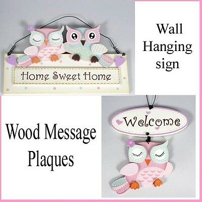 Welcome owl and home sweet home owl wooden hanging sign