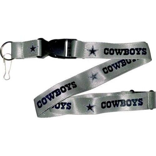 Cowboys-Shiny-Silver-Licensed-NFL-Keychain-ID-Holder-Detachable-Lanyard-New