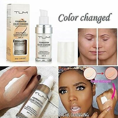 Oncealer Cover,TLM Flawless Color Changing Warm Skin Tone Foundation Makeup Bas