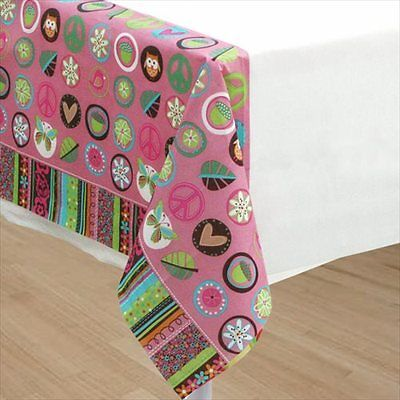 HIPPIE CHICK PAPER TABLE COVER ~ Birthday Party Supplies Decorations Cloth Pink