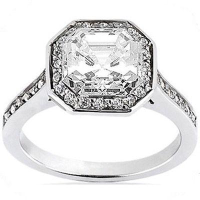 1.37 carat 1.01 ct GIA cert I VVS2 Asscher cut Diamond 14k white Gold Ring