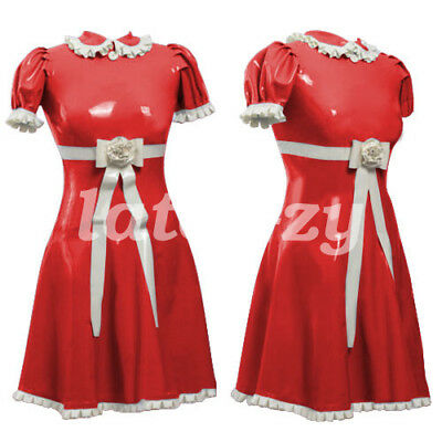 Krankenschwestern Uniform Fancy Dress (Latex Fancy Dress Krankenschwester Uniform Rock Cosplay Part Drees 0.4mm S-XXL)