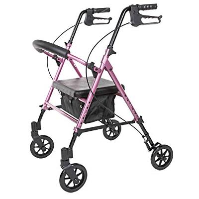 Carex Step N Rest Aluminum Rolling Walker For Seniors Pink R