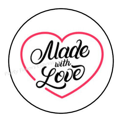 """48 MADE WITH LOVE ENVELOPE SEALS LABELS STICKERS 1.2"""" ROUND"""