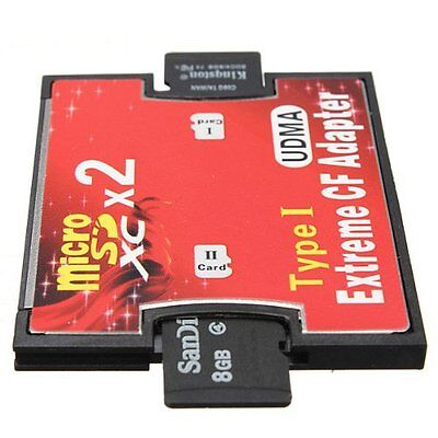 Dual 2 port Micro SD SDHC to Compact Flash CF 1 Type I Card Adapter Converter