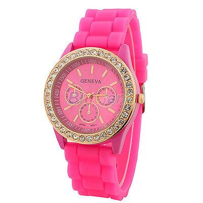 Ladies Women Girl Geneva Silicone Quartz Golden Crystal Stone Jelly Wrist Watch