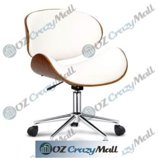 Wooden frame Premium PU Leather Curved Office Chair White/Black