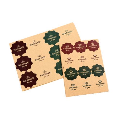 120PCS Vintage Flower Kraft Paper Handmade you Seal Gift Lab NM
