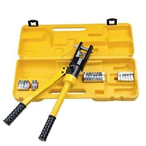 16 Ton Hydraulic Battery Wire Crimping Tool + 11 Cable Lug Dies