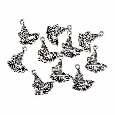(10PCS MAMA NO. 1 Love For Mom Tibetan Silver 3D Charms Pendant Beads 1.5*1.8cm)