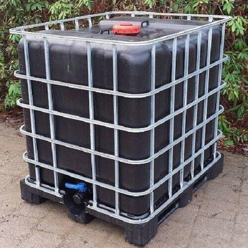 IBC Tank, Regenwassertank 1000L ( Schütz, Mauser ) auf Stahl/PE-Palette SCHWARZ