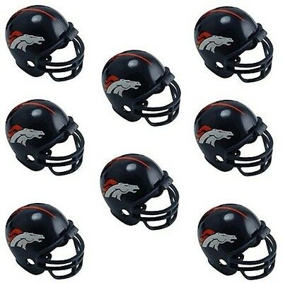 DENVER BRONCOS 8 PARTY PACK NFL FOOTBALL HELMETS made by Riddell!