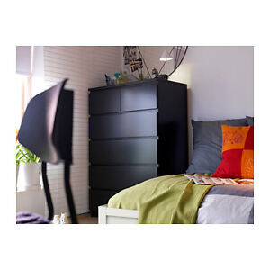 Ikea MALM 6-drawer chest in black-brown
