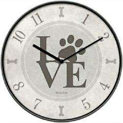 Westclox 10 Round Dog Lover Wall Clock Battery Operated Paws Love USA Seller