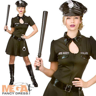 Naughty Officer Ladies Police Fancy Dress Womens Cop Uniforms Adults Costume New - Naughty Officer