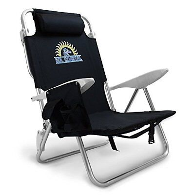 4-Position Lay Flat Beach Chair with Carry Straps & Storage Pouch Layflat Beach Chair