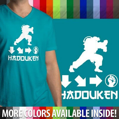 Hadouken Ryu Street Fighter Ken Retro Gaming Soft Mens Unisex V Neck T Shirt