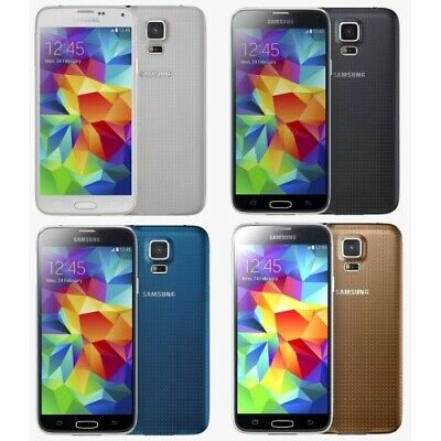 Android Phone - Samsung Galaxy S5 G900A 16GB AT&T + GSM Unlocked Black White Gold + Image Burn