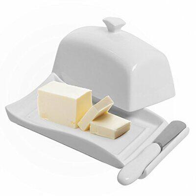 MyGift Decorative White Ceramic Lidded Butter Dish & Knife Spreader Set ()