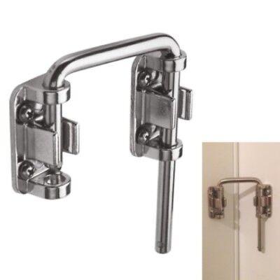 Secondary Door Lock Sliding Loop Home Security Diecast Chrome Patio Steel Bar U