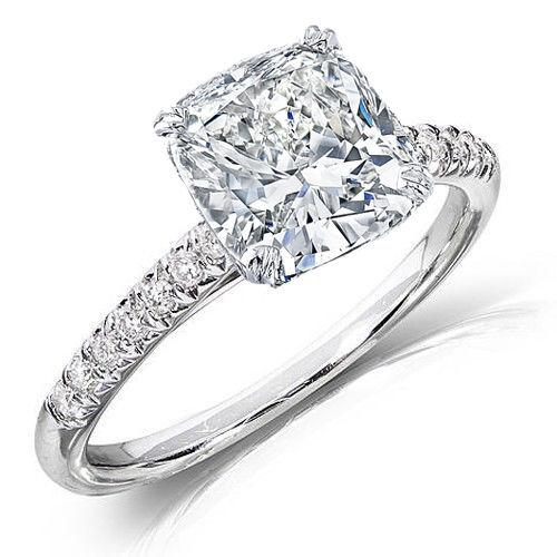4.25 Ct Cushion Cut Diamond Round U-Setting Engagement Ring E ,VS2 GIA Platinum