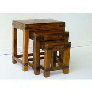 Indian Jali Nest Of Tables Solid Sheesham Rosewood By Mercers Furniture