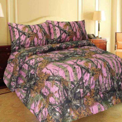 Pink Camo Queen Bedding Set
