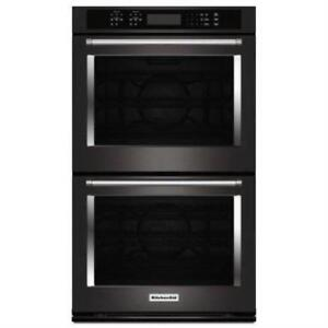 """KitchenAid 30"""" True Convection Black Stainless Double Wall O"""