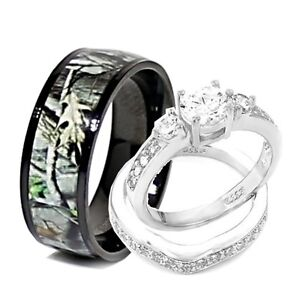 his and hers camo wedding rings his and hers 3pcs titanium camo 925 sterling silver 4808