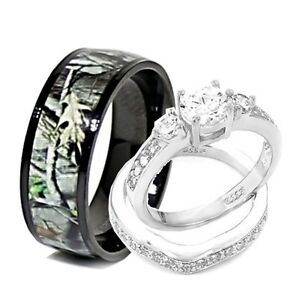 His-and-Hers-3pcs-Titanium-Camo-925-STERLING-SILVER-Engagement-Wedding-Rings-Set