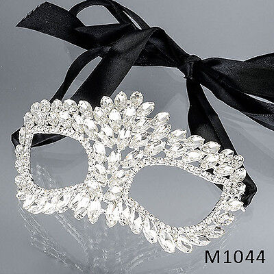 Elegant Halloween (Elegant Masquerade Halloween Party Mask Oval Clear Rhinestones Ribbon)
