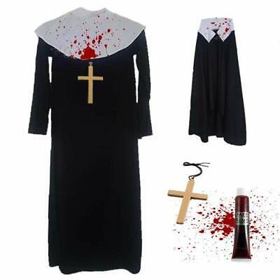 Kinder Mädchen Zombie Nonnenkostüm Kreuz Halloween Schwester - Kind Nonne Kostüm