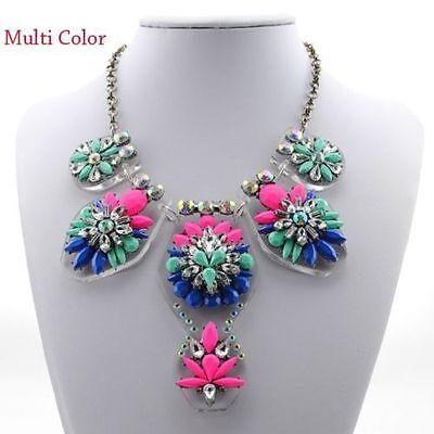 Fashion Chain Women Crystal Flower Choker Bib Chunky Statement Necklace jewelry