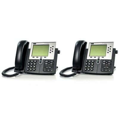 Lot Of 2 Cisco 7960 Cp-7960g Ip Voip Handset And Office Business Desktop Phone