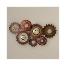 Large Wall Clock Unique Rustic Nautical Industrial Gears Decorative Oversize Art