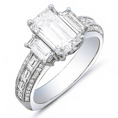 3.20 Ct Emerald Cut Baguette Diamond Engagement Ring w/ Accents F,VVS2 GIA 18K